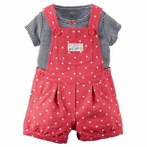 Carter's Red Polka Dot Overall Shortalls and Top